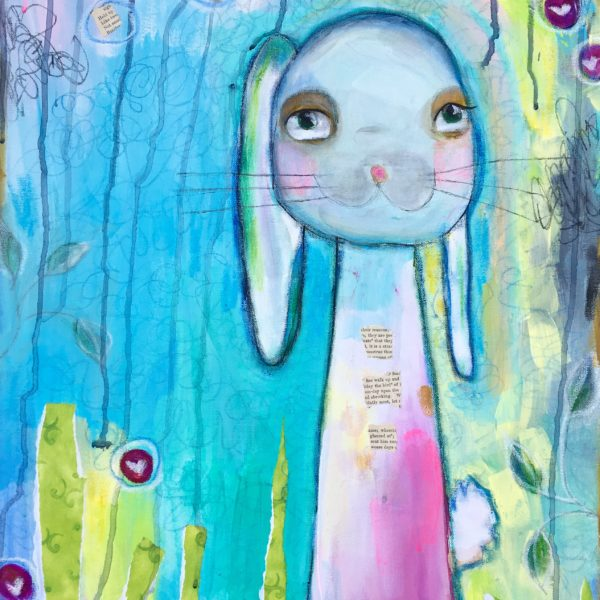 BECOMING REAL is a 16x20 multimedia painting featuring acrylic paint, vintage papers, oil pastels & colored pencils.